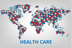 Vector illustration.World health care organization. Map with a l Royalty Free Stock Image