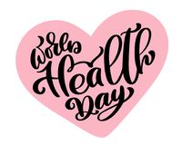 Vector illustration World Heart Day lettering quote. Vintage text, lettering phrase. Isolated on white background.  Stock Image