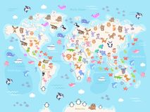 Vector illustration of world map with animals for kids. Flat design royalty free stock photo