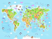 Vector illustration of world map with animals for kids. vector illustration