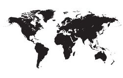 World map black vector illustration