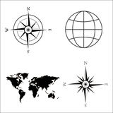 Vector illustration of world map, globe, wind rose, compass. Stock Photo