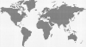 Vector illustration of a world map. Vector halftone dots. Royalty Free Stock Image