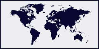 Vector illustration world map. World map on black blue background. Layers grouped for easy editing illustration. For your design stock illustration