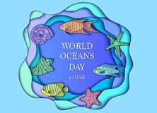 World ocean day. Vector illustration for world ocean day. Ocean animals on blue background Stock Images