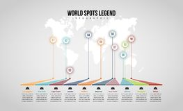 World Spots Legend Infographic Royalty Free Stock Photos