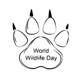 Vector Illustration of World Wildlife Day with Animal Footprint. Black and White Vector Illustration of World Wildlife Day with Animal Footprint Stock Image