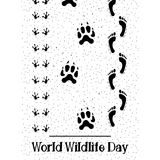 Vector Illustration of World Wildlife Day with Animal Footprint and Human Footprint. Vector flat Illustration of World Wildlife Day with Animal Footprint and Stock Images