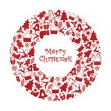 Vector illustration. Wreath with Christmas decorations in red. Winter ornament on a white background. Frame for your text.  Royalty Free Illustration