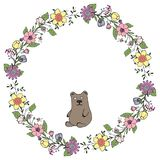 Vector illustration. Wreath of flowers and green leaves with a bear. Holiday. The isolated image on a white background. vector illustration