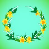 Vector illustration of a wreath with flowers Royalty Free Stock Images