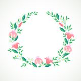 Vector illustration of a wreath with flowers Royalty Free Stock Photos