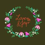 Vector illustration of a wreath with flowers Stock Photos