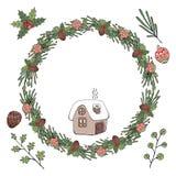 Christmas wreath. Vector illustration. Isolated on white background. royalty free illustration