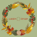 Vector illustration of wreath of leaves stock illustration