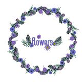 Purple floral wreath royalty free illustration