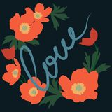Vector illustration of a wreath of red poppies on dark blue background and lettering in handwritten style vector illustration