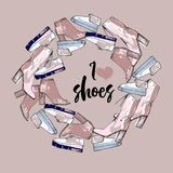 Illustration of wreath with winter shoes for woman and lady. Stylized shoe, footwear with lettering text. Stock Photos