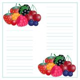 Vector illustration of writing paper with berries vector illustration