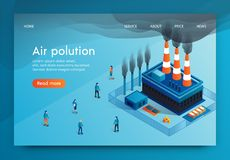 Vector Illustration is Written Air Polution 3d. Factory Pipes Harmful Substances in Form Smoke. Pollutes Air City and Impairs Health its Inhabitants. Increased vector illustration