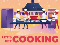 Vector Illustration Written Lets Get Cooking. royalty free illustration
