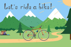Vector illustration 'Let's ride a bike!' Summer cycling in the mountains. Cycling adventure. Stock Photo