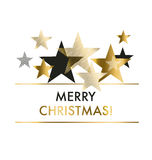 Vector illustration xmas backdrop. Abstract background with gold geomerty style stars for Christmas ans New year decorativ greeting cards, header, web banners Royalty Free Stock Photo
