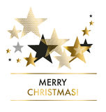 Vector illustration xmas backdrop. Abstract background with gold geomerty style stars for Christmas ans New year decorativ greeting cards, header, web banners Stock Photo
