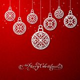 Vector illustration of Xmas balls. Vector illustration of white Xmas balls on red backgroun vector illustration