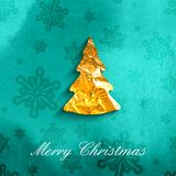 Vector illustration of a Xmas poster with golden foil Christmas Royalty Free Stock Photo