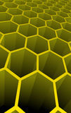 Vector illustration of yellow 3d abstract cells. For science or business background Stock Photos