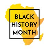 Vector illustration yellow background with silhouette of African continent. Black history month. Black frame royalty free illustration