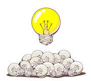 Vector illustration of yellow big lightbulb above pile of small Stock Photography