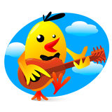 Vector illustration of a yellow bird playing guitar Royalty Free Stock Photography