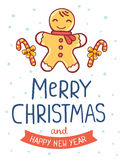 Vector illustration of yellow christmas cookie man with cane, ri. Bbon, handwritten text merry christmas on white background with snow. Flat style design for web Stock Photo