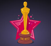 Vector illustration of yellow cinema award with red big star  Royalty Free Stock Photography