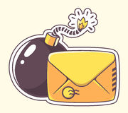 Vector illustration of yellow envelope with bomb  Stock Image