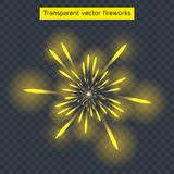Vector illustration of yellow fireworks, transparent light. Vector illustration of yellow fireworks, transparent light effect, new year, holiday Stock Photo