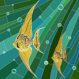 Vector illustration of yellow fish in green. Vector mosaic with large cells of yellow fish with long fins in green water with bubbles Royalty Free Stock Images