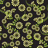 Vector illustration with yellow flowers. Seamless floral background. Repeat many times. Vector illustration Stock Illustration