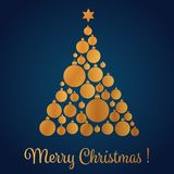 Vector illustration of yellow gold colored Christmas tree made with decorative balls. Christmas card. Stock Photos