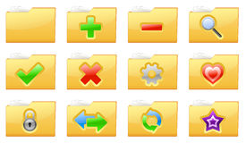 Yellow folder management and administration icons. Vector illustration of yellow interface folder management and administration icons Stock Images