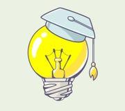 Vector illustration of yellow lightbulb with graduation cap on c Stock Photography