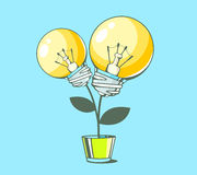 Vector illustration of yellow lightbulbs growing in pot on blue Stock Images