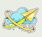 Vector illustration of yellow paper plane flying around blue clo Stock Photos