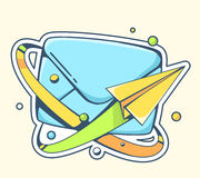 Vector illustration of yellow paper plane flying around blue env Royalty Free Stock Photo