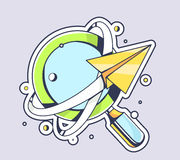 Vector illustration of yellow paper plane flying around blue mag Royalty Free Stock Photos