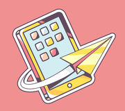 Vector illustration of yellow paper plane flying around mobile p Stock Photos
