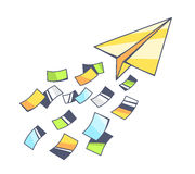 Vector illustration of yellow paper plane and flying color paper Royalty Free Stock Photography
