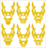 Vector illustration of a yellow samurai mask Stock Photo